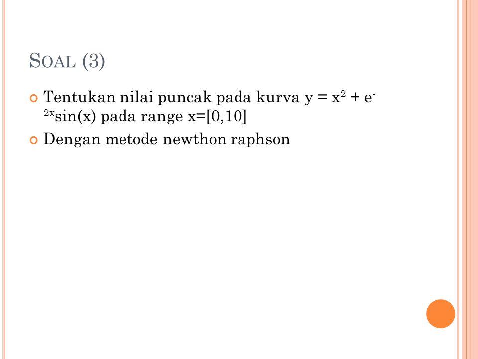 Soal (3) Tentukan nilai puncak pada kurva y = x2 + e- 2xsin(x) pada range x=[0,10] Dengan metode newthon raphson.